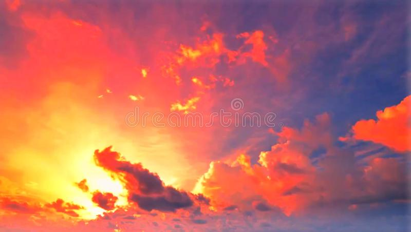 The beautiful of nature are orange  sky and gray clouds. The beautiful of nature are orange sky and gray clouds stock photo