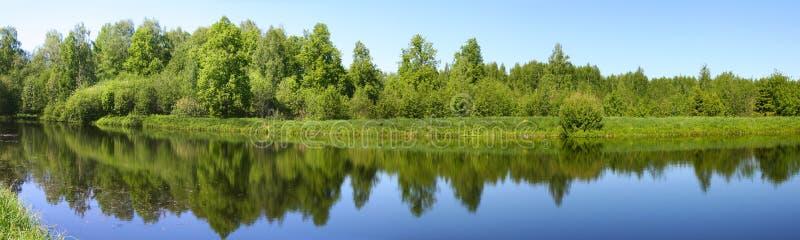 Beautiful nature, panoramic scenery. Small Rivers of Russia, Kostromskaya area, Sledovo royalty free stock photos