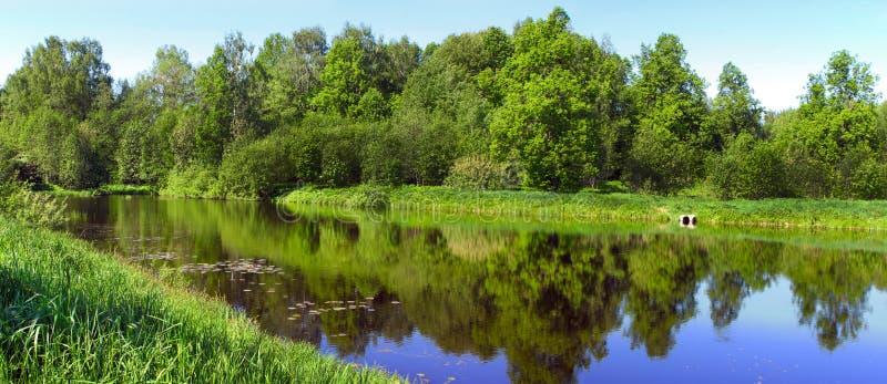 Beautiful nature, panoramic scenery. Small Rivers of Russia, Kostromskaya area, Sledovo stock photos