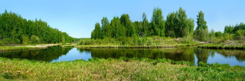 Beautiful nature, panoramic scenery. Small Rivers of Russia. Kostromskaya area royalty free stock photo