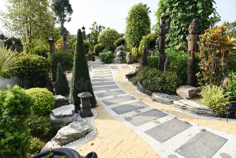 Nature path with garden. A beautiful nature path with garden stock photography