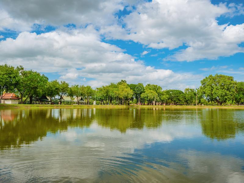 Beautiful nature reflection in the water At sukhothai historical park. Sukhothai city Thailand royalty free stock photo