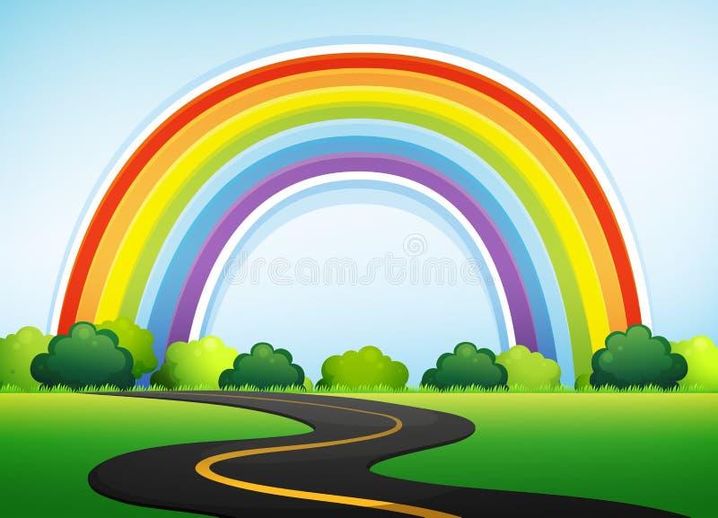 Beautiful Nature Roadside and Rainbow. Illustration royalty free illustration