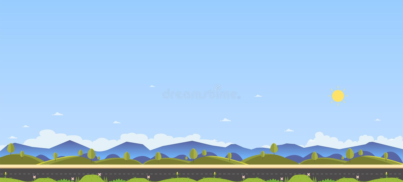 Beautiful nature scene with country road and hill for foreground.Clean spring amazing scenery. Vector illustration.Road with natur vector illustration