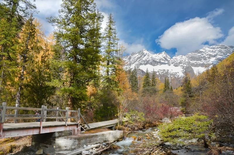 Beautiful nature scenic landscape view at the siguniang scenic area, chengdu city, china stock photos