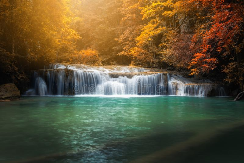 Beautiful Nature Scenic of Waterfall in Autumn Season Forest, Amazing Colorful Natural Landscape Scenery of Water Falls in. Tropical. Paradise Fall With Emerald royalty free stock photography