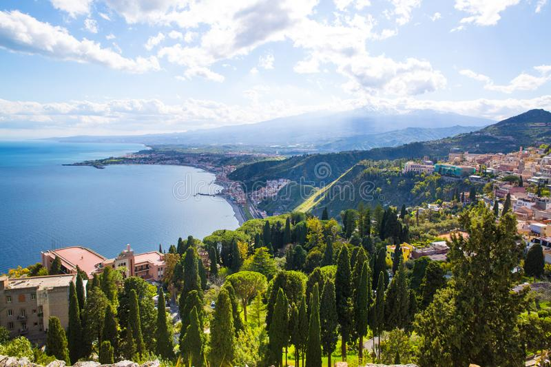 Beautiful nature of Sicily, Mediterranean sea near Taormina and Etna vulcano, aerial panoramic view. Italy. royalty free stock photos