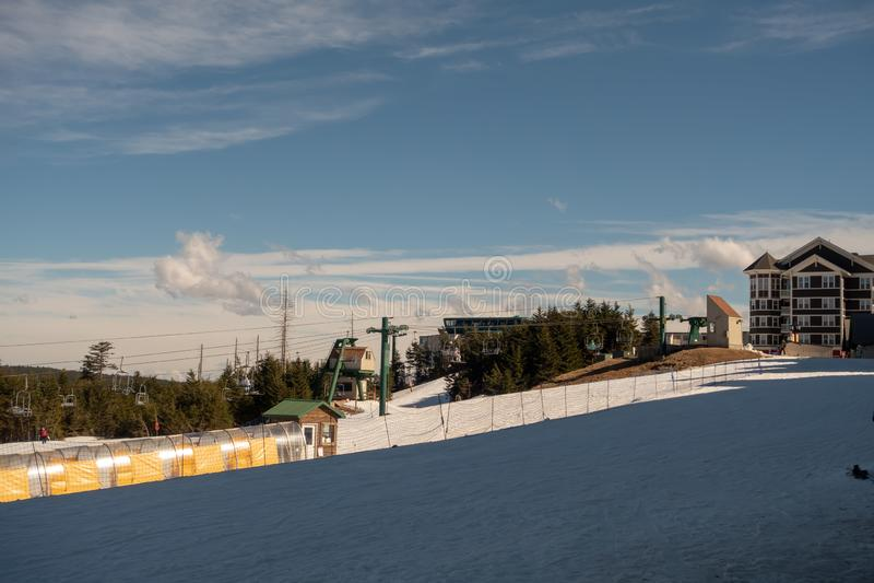 Beautiful nature sunrise at snowshoe west virginia ski resort royalty free stock photography