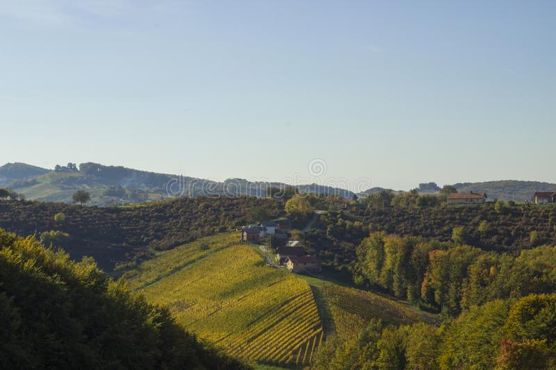 Beautiful nature and vineyards with the sky in the fall of Zagorje royalty free stock images
