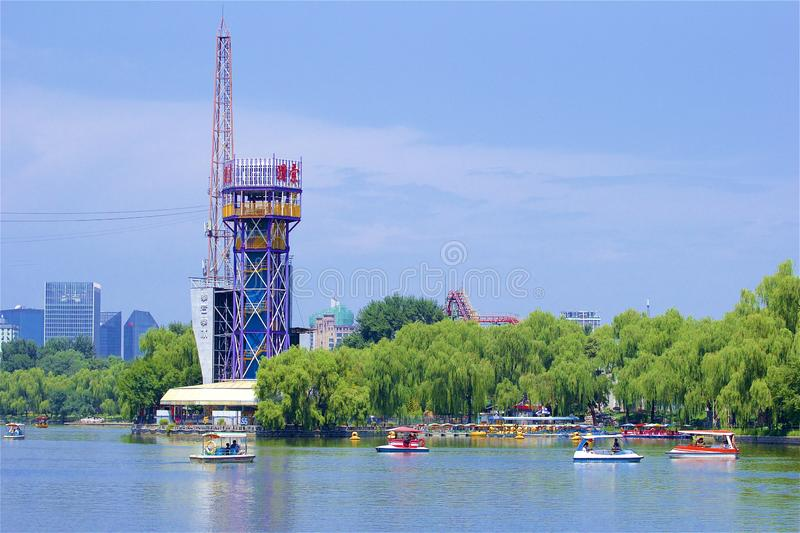 Chaoyang park, Beijing. Beautiful nature and water sports in Chaoyang park, Beijing, China stock photo