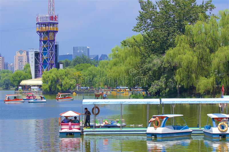 Chaoyang park, Beijing. Beautiful nature and water sports in Chaoyang park, Beijing, China stock photography
