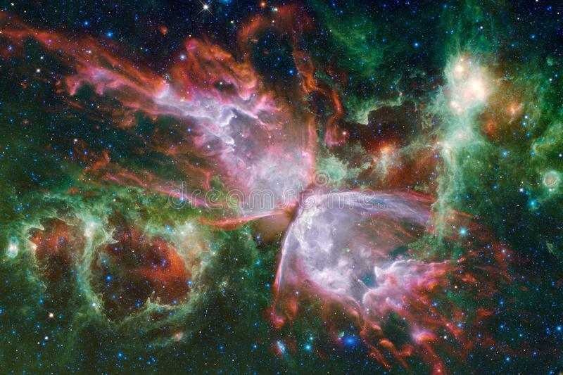 Beautiful nebula and bright stars in outer space, glowing mysterious universe stock image
