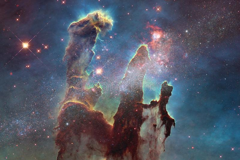 Beautiful nebula and bright stars in outer space, glowing mysterious universe stock photos