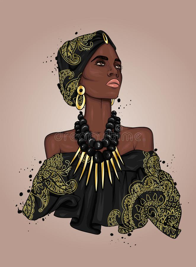 A beautiful negress in a dress and turban with patterns. Africa. Ethnic clothing and accessories, fashion and style. Vector illustration. Gold and jewels vector illustration