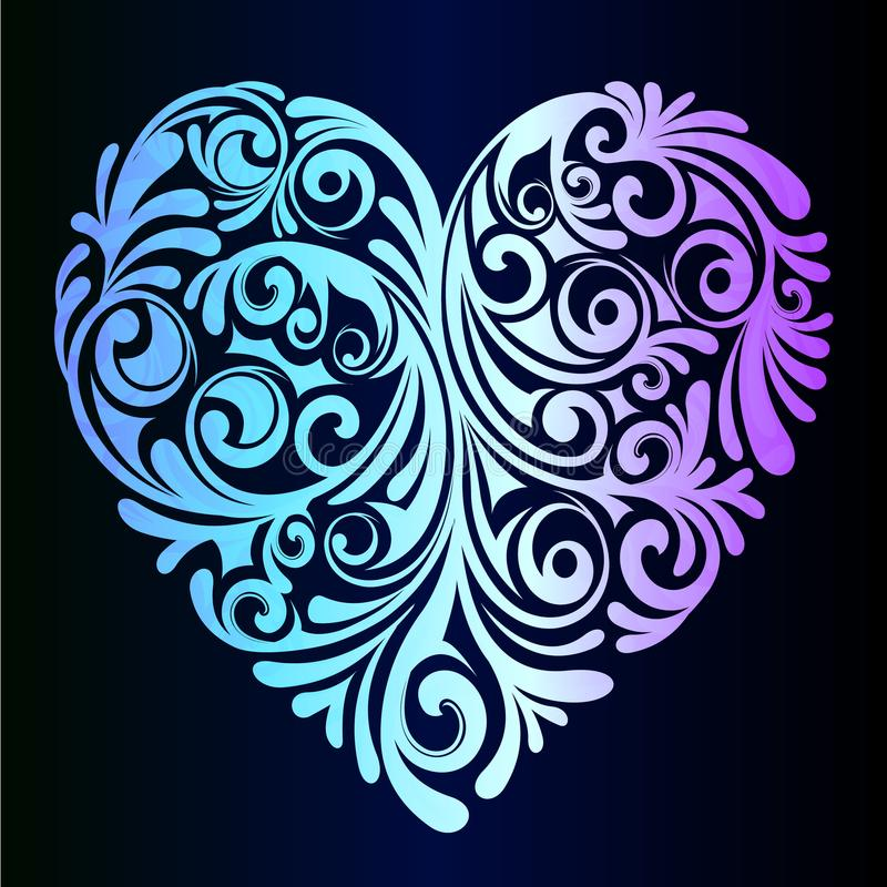 A beautiful neon heart - an idea for a romantic greeting card vector illustration