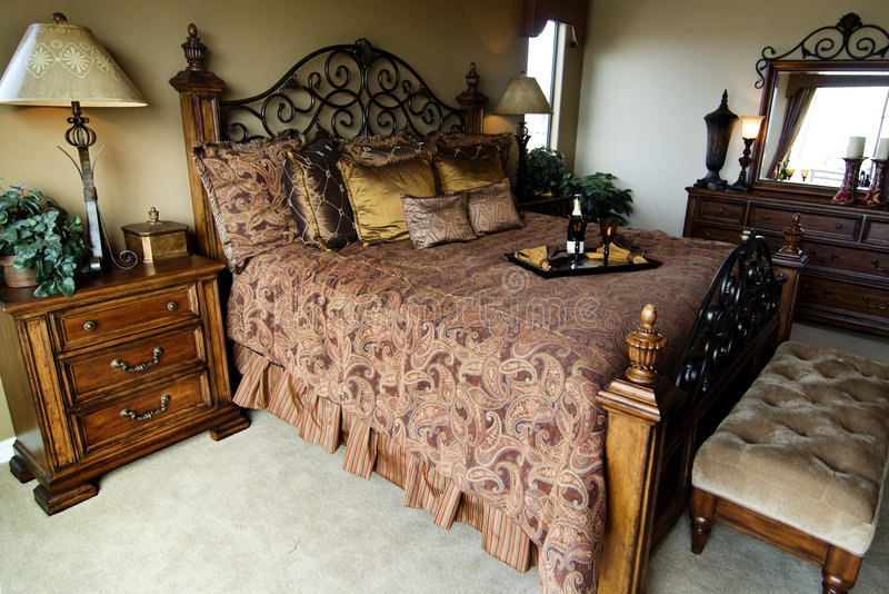 Beautiful new home bedroom stock images