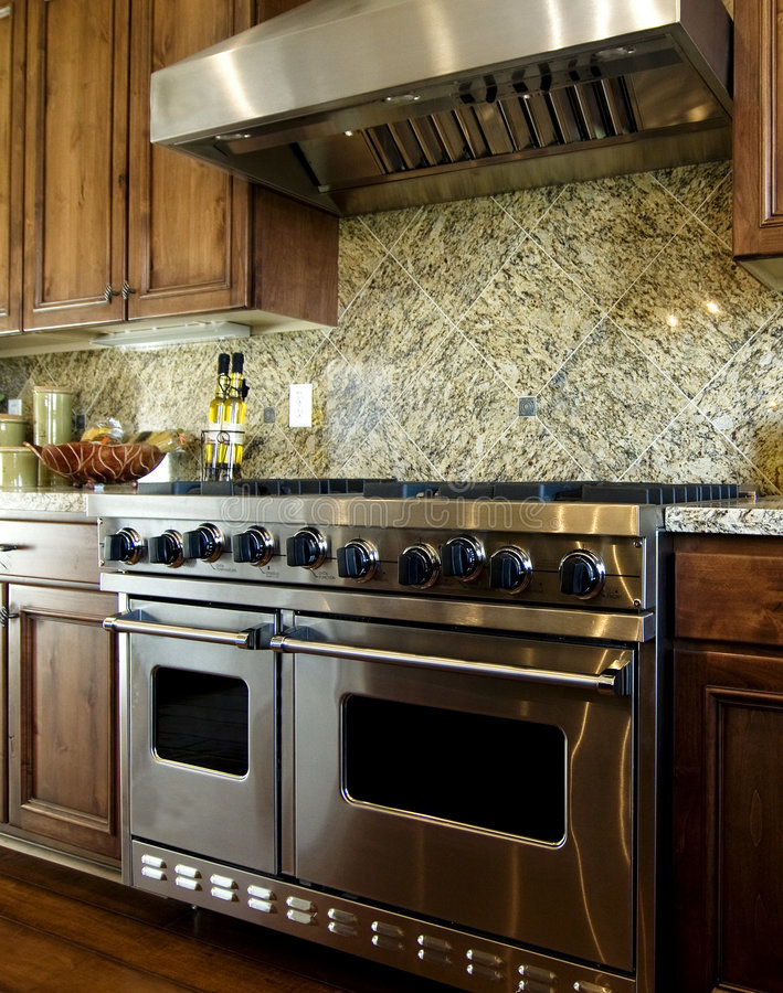 Beautiful new home kitchen royalty free stock photos