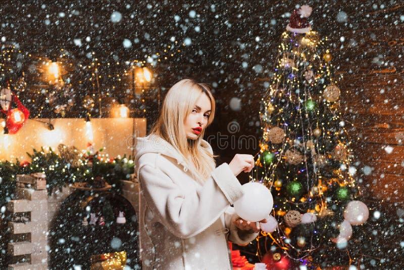 Beautiful new year and Christmas scene. Sensual Christmas girl. Fashionable luxury girl celebrating new year. Merry stock image