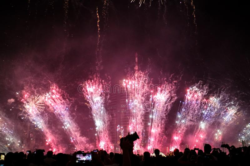 Beautiful new year firework from Thailand stock images