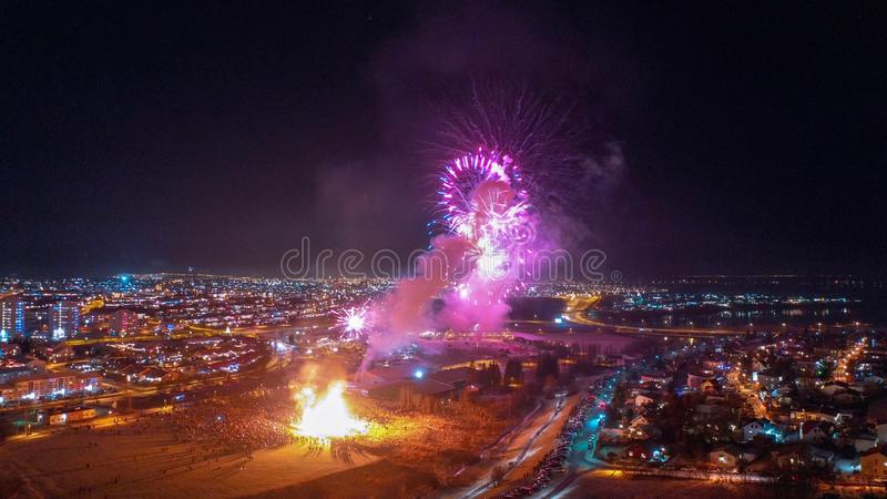 Beautiful, New Year`s fireworks over the city of Reykjavik. Happy new year 2019 stock photos