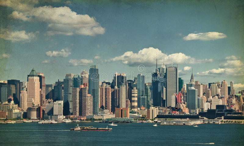 Beautiful new york cityscape over the hudson royalty free stock image