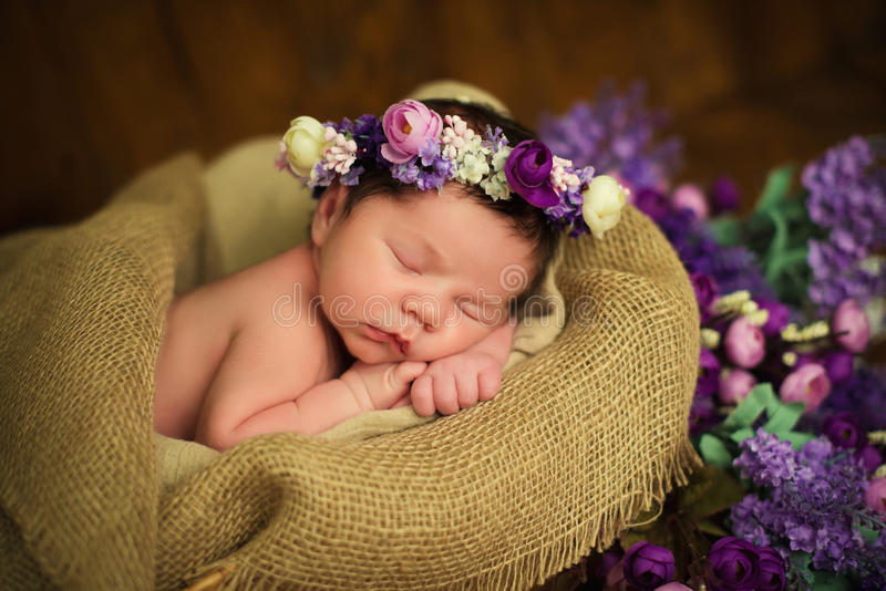 Beautiful newborn baby girl with a purple wreath sleeps in a wicker basket stock photos