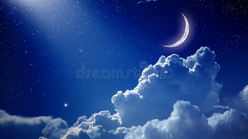 Beautiful night. Peaceful background, blue night sky with moon, stars, beautiful clouds and bright spotlight from above. Elements of this image furnished by NASA stock photo