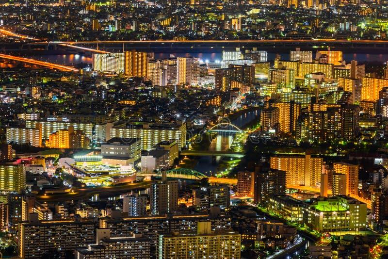 Night aerial view of skyline metropolis Tokyo city, Japan stock photography