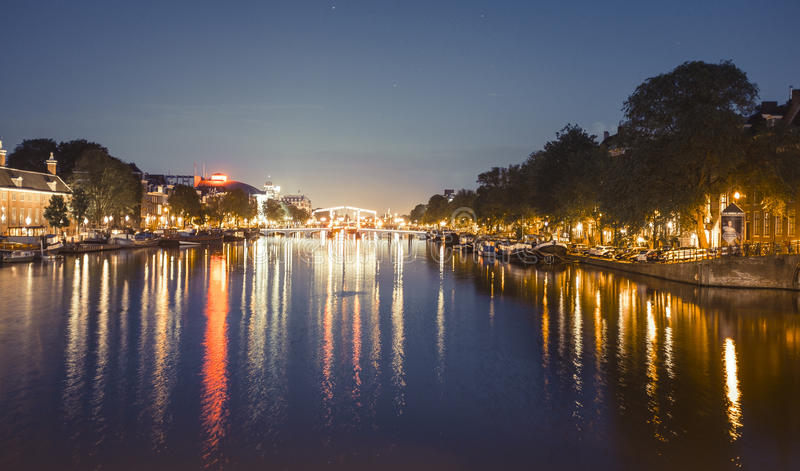 Beautiful night in Amsterdam. royalty free stock photography