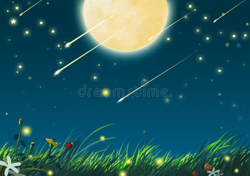 Beautiful Night with Big Moon and Shooting Stars stock illustration