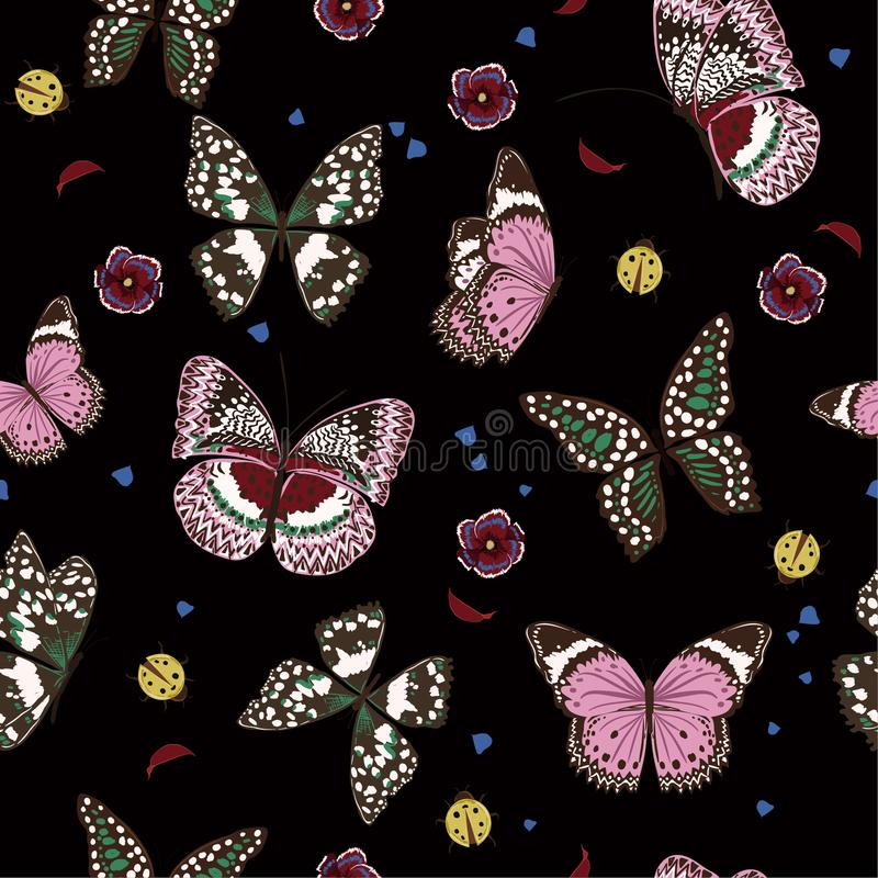 Beautiful night butterflies flying ,lady bug,insect seamless pat royalty free illustration