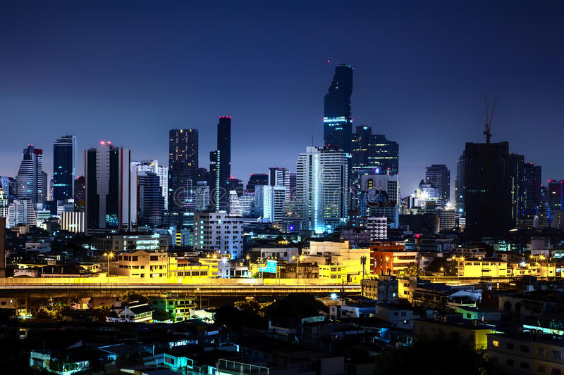 Beautiful night city, Modern night cityscape of Bangkok Thailand. Urban and street in the night, futuristic architecture nighttime illumination stock photography