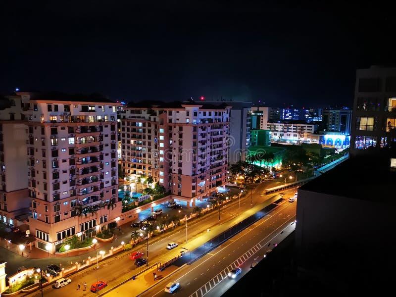 Beautiful night city view of Kota Kinabalu, Sabah. Malaysia, Borneo. stock photos