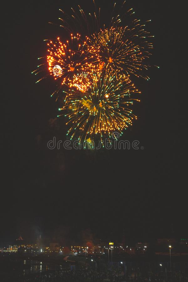 Beautiful night fireworks show in the city stock photos