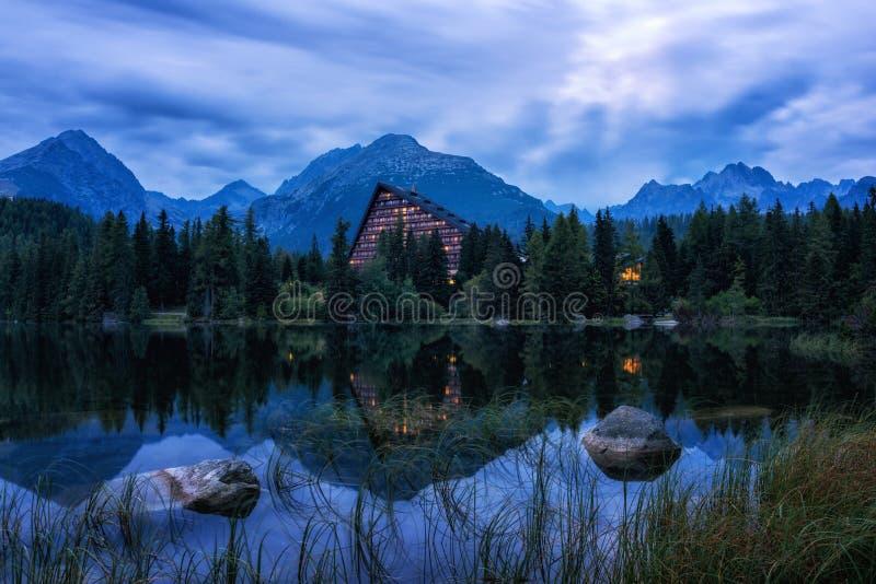 Beautiful night landscape, mountains and water, lake Strbske pleso, High Tatras, Slovakia stock image