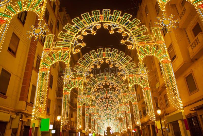 Beautiful night lights in Fallas fest of Valencia in calle Sueca stock image