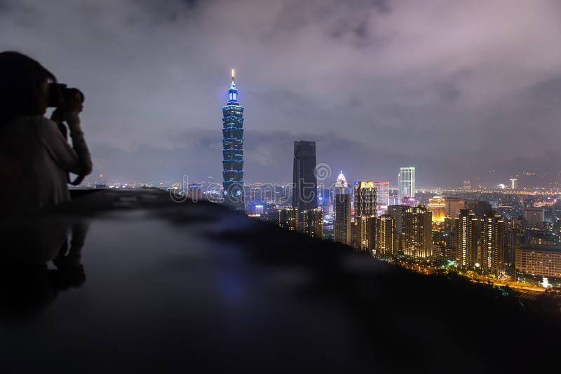 The beautiful night scene of Taipei, Taiwan city skyline royalty free stock image