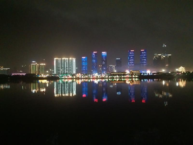 Beautiful night scene Wanda plaza in Changsha China stock images