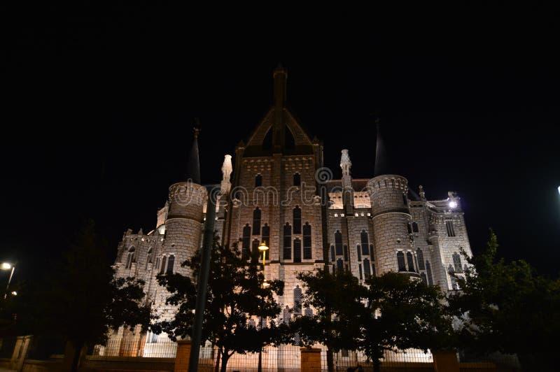 Beautiful Night Shot Of The Episcopal Palace In Astorga. Architecture, History, Camino de Santiago, Travel, Night Photography. November 3, 2018. Astorga, Leon royalty free stock photography