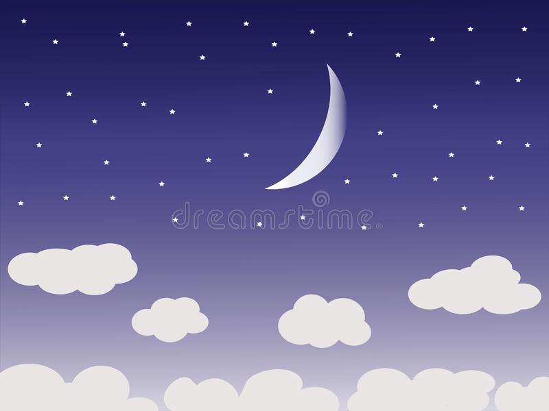 Beautiful night sky with moon and clouds stock illustration