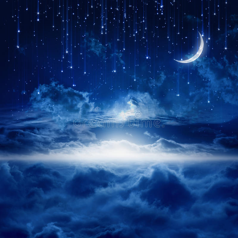 Beautiful night sky. Peaceful background, blue night sky with moon, falling stars, beautiful clouds, glowing horizon. Elements of this image furnished by NASA