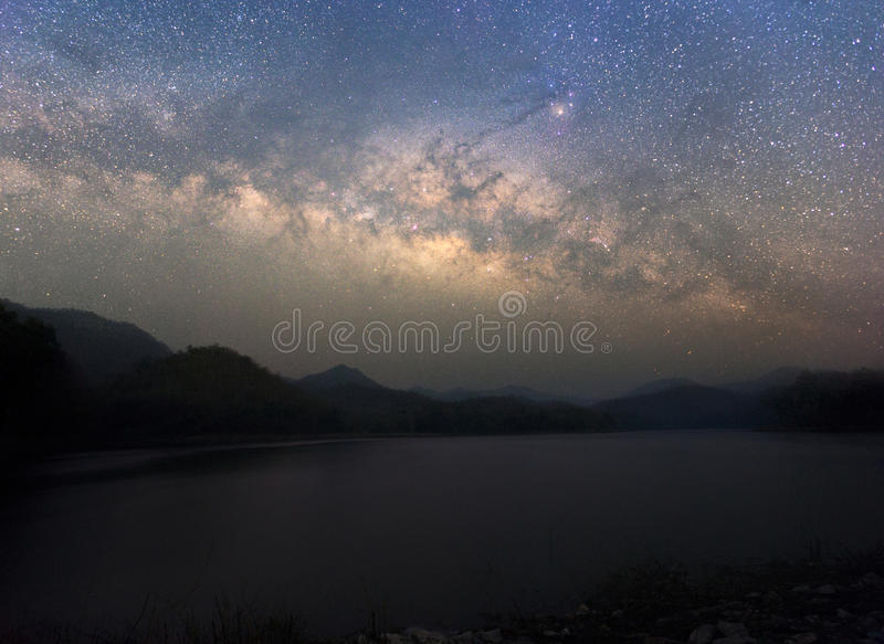 Beautiful Night Starry sky with Rising Milky Way over the mountain, Thailand royalty free stock photo