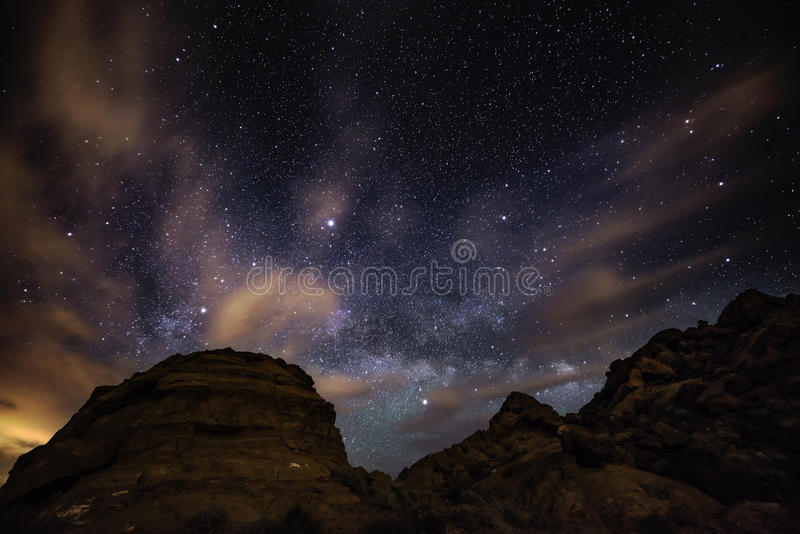 Beautiful Night Starry sky with Rising Milky Way Valley of Fire. Beautiful Night Starry sky with Rising Milky Way over the Valley of Fire State Park Nevada stock photo