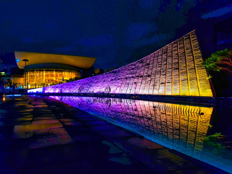 Beautiful night street of Korea stock image