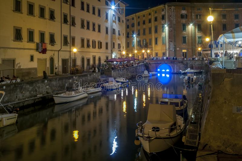 Beautiful night view of the canals of Livorno in the Venezia district, Tuscany, Italy. Europe stock photos