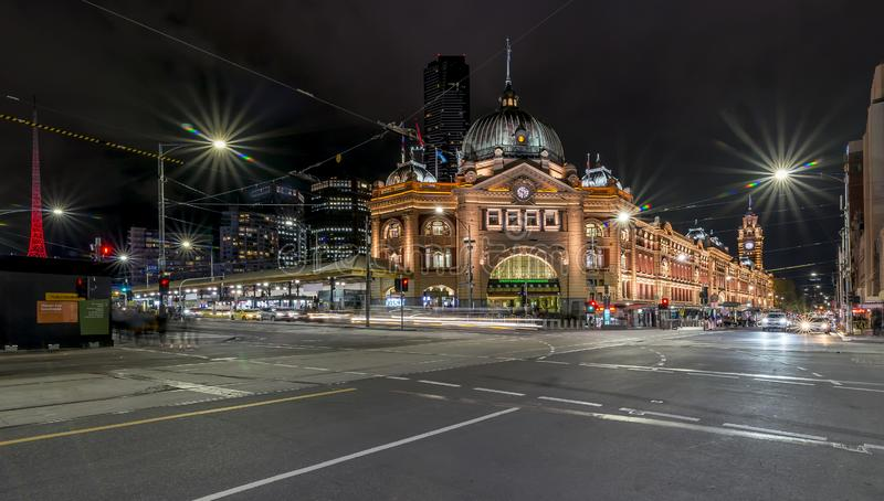 Beautiful night view of Flinders Street and Railway Station, Melbourne, Australia stock image