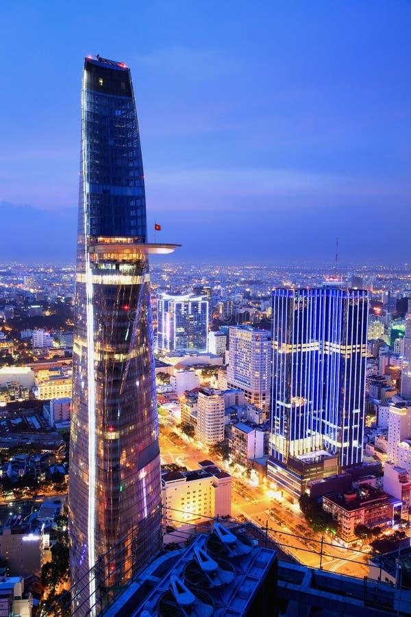 Beautiful night view of Ho Chi Minh cityscape SaiGon, VietNam stock photography