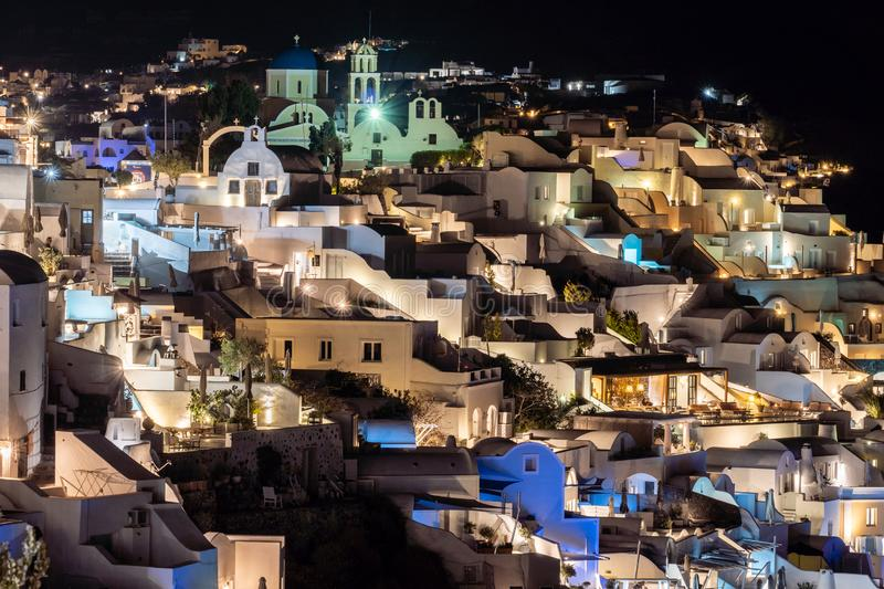 Beautiful Night View at Oia village in Santorini island, Greece stock images