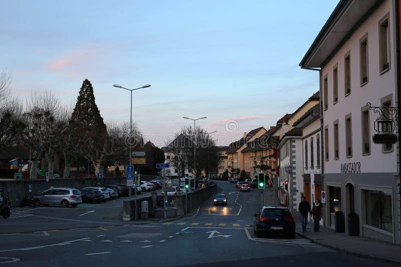 Beautiful Night in Downtown of Nyon, Switzerland stock image