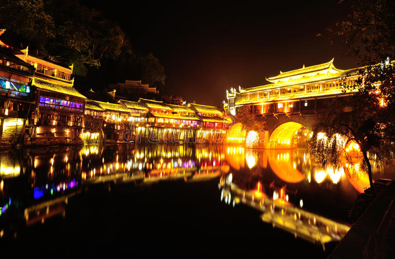 Beautiful nightscape of fenghuang ancient town royalty free stock photography